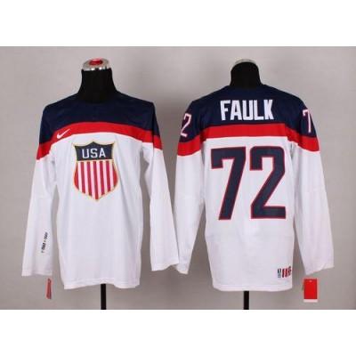 2014 Olympic Team USA  72 Justin Faulk White Stitched NHL Jersey 3a52f55f6