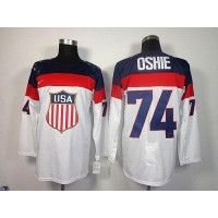 2014 Olympic Team USA #74 T. J. Oshie White Stitched NHL Jersey