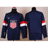 2014 Olympic Team USA Blank Navy Blue Stitched NHL Jersey