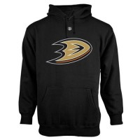 Anaheim Ducks Old Time Hockey Big Logo with Crest Pullover Hoodie Black