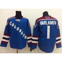 Avalanche #1 Semyon Varlamov Blue Third Stitched NHL Jersey