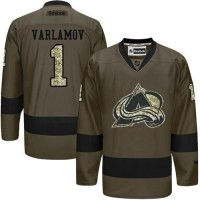 Avalanche #1 Semyon Varlamov Green Salute to Service Stitched NHL Jersey