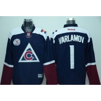 Avalanche #1 Semyon Varlamov Navy Blue Alternate Stitched NHL Jersey