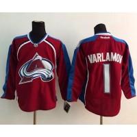 Avalanche #1 Semyon Varlamov Red Stitched NHL Jersey