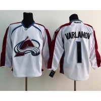 Avalanche #1 Semyon Varlamov White Stitched NHL Jersey