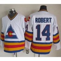 Avalanche #14 Rene Robert White CCM Throwback Stitched NHL Jersey