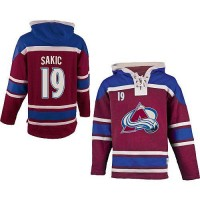Avalanche #19 Joe Sakic Red Sawyer Hooded Sweatshirt Stitched NHL Jersey