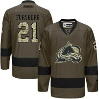 Avalanche #21 Peter Forsberg Green Salute to Service Stitched NHL Jersey