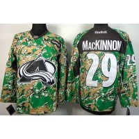Avalanche #29 Nathan MacKinnon Camo Veterans Day Practice Stitched NHL Jersey