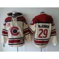 Avalanche #29 Nathan MacKinnon Cream Sawyer Hooded Sweatshirt Stitched NHL Jersey