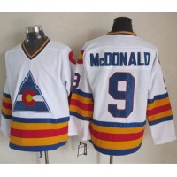 Avalanche #9 Lanny McDonald White CCM Throwback Stitched NHL Jersey