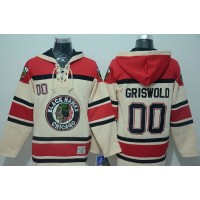Blackhawks #00 Clark Griswold Cream Sawyer Hooded Sweatshirt Stitched NHL Jersey