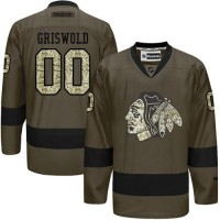 Blackhawks #00 Clark Griswold Green Salute to Service Stitched NHL Jersey