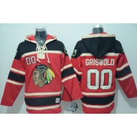 Blackhawks #00 Clark Griswold Red Sawyer Hooded Sweatshirt Stitched NHL Jersey