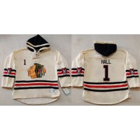 Blackhawks #1 Glenn Hall Cream Heavyweight Pullover Hoodie Stitched NHL Jersey