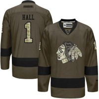 Blackhawks #1 Glenn Hall Green Salute to Service Stitched NHL Jersey