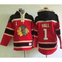 Blackhawks #1 Glenn Hall Red Sawyer Hooded Sweatshirt Stitched NHL Jersey