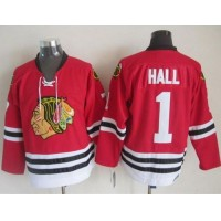 Blackhawks #1 Glenn Hall Stitched Red CCM Throwback NHL Jersey