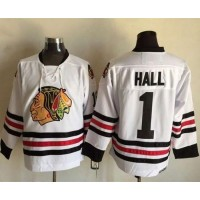 Blackhawks #1 Glenn Hall White CCM Throwback Stitched NHL Jersey