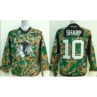 Blackhawks #10 Patrick Sharp Camo Veterans Day Practice Stitched Youth NHL Jersey