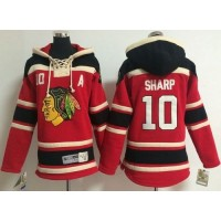 Blackhawks #10 Patrick Sharp Red Sawyer Hooded Sweatshirt Stitched Youth NHL Jersey