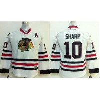 Blackhawks #10 Patrick Sharp White Stitched Youth NHL Jersey