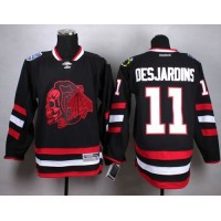 Blackhawks #11 Andrew Desjardins Black(Red Skull) Stitched NHL Jersey