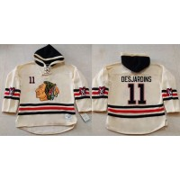 Blackhawks #11 Andrew Desjardins Cream Heavyweight Pullover Hoodie Stitched NHL Jersey