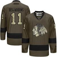 Blackhawks #11 Andrew Desjardins Green Salute to Service Stitched NHL Jersey