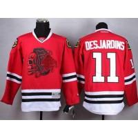 Blackhawks #11 Andrew Desjardins Red(Red Skull) Stitched NHL Jersey
