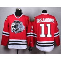 Blackhawks #11 Andrew Desjardins Red(White Skull) Stitched NHL Jersey