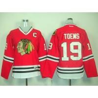 Blackhawks #19 Janathan Toews Red Women's Home Stitched NHL Jersey