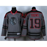 Blackhawks #19 Jonathan Toews Charcoal Cross Check Fashion Stitched  NHL Jersey