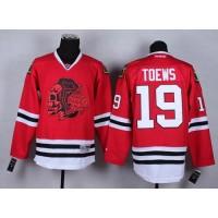 Blackhawks #19 Jonathan Toews Red(Red Skull) Stitched NHL Jersey
