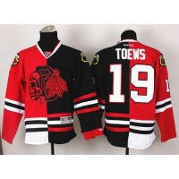 Blackhawks #19 Jonathan Toews RedBlack Split Red Skull Stitched NHL Jersey