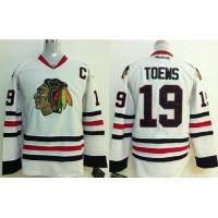 Blackhawks #19 Jonathan Toews Stitched  White Youth NHL Jersey
