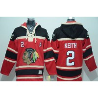 Blackhawks #2 Duncan Keith Red Sawyer Hooded Sweatshirt Stitched NHL Jersey