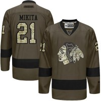 Blackhawks #21 Stan Mikita Green Salute to Service Stitched NHL Jersey