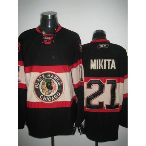 Blackhawks  21 Stan Mikita Stitched Black New Third NHL Jersey 3f2a55a47