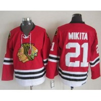 Blackhawks #21 Stan Mikita Stitched Red CCM Throwback NHL Jersey