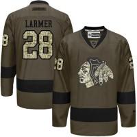 Blackhawks #28 Steve Larmer Green Salute to Service Stitched NHL Jersey