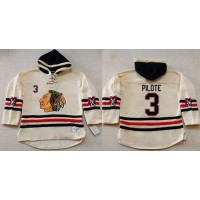Blackhawks #3 Pierre Pilote Cream Heavyweight Pullover Hoodie Stitched NHL Jersey