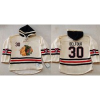 Blackhawks  30 ED Belfour Cream Heavyweight Pullover Hoodie Stitched NHL  Jersey 1f19ff826