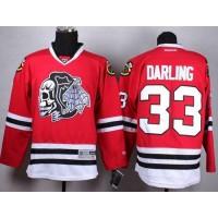 Blackhawks #33 Scott Darling Red(White Skull) Stitched NHL Jersey