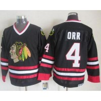 Blackhawks #4 Bobby Orr Black CCM Throwback Stitched NHL Jersey