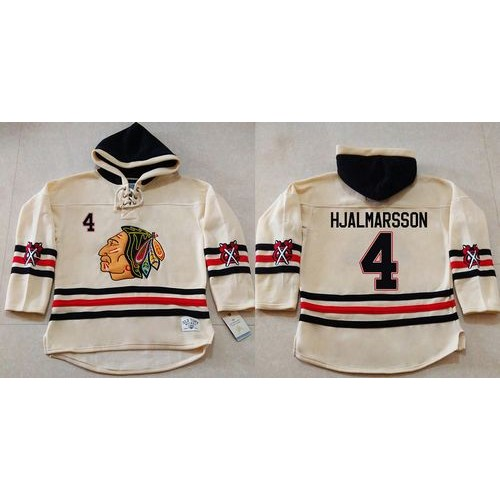 hot sale online 0d020 d78fd Blackhawks #4 Niklas Hjalmarsson Cream Heavyweight Pullover ...