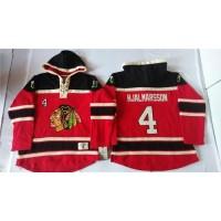 Blackhawks #4 Niklas Hjalmarsson Red Sawyer Hooded Sweatshirt Stitched NHL Jersey