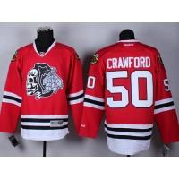 Blackhawks #50 Corey Crawford Red(White Skull) Stitched NHL Jersey