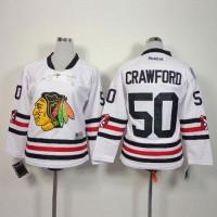 Blackhawks #50 Corey Crawford White 2015 Winter Classic Stitched Youth NHL Jersey