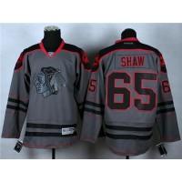 Blackhawks #65 Andrew Shaw Charcoal Cross Check Fashion Stitched NHL Jersey